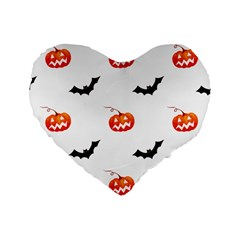 Halloween Seamless Pumpkin Bat Orange Black Sinister Standard 16  Premium Heart Shape Cushions