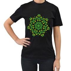 Leaf Green Frame Star Women s T Shirt (black) (two Sided) by Alisyart