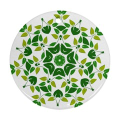 Leaf Green Frame Star Round Ornament (two Sides) by Alisyart