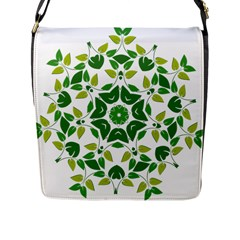 Leaf Green Frame Star Flap Messenger Bag (l)  by Alisyart