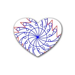 Line  Red Blue Circle Heart Coaster (4 pack)