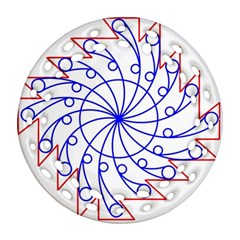 Line  Red Blue Circle Ornament (round Filigree) by Alisyart