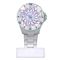 Line  Red Blue Circle Plastic Nurses Watch by Alisyart