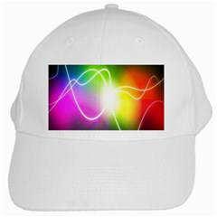 Lines Wavy Ight Color Rainbow Colorful White Cap by Alisyart
