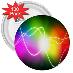 Lines Wavy Ight Color Rainbow Colorful 3  Buttons (100 Pack)  by Alisyart