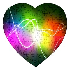 Lines Wavy Ight Color Rainbow Colorful Jigsaw Puzzle (heart) by Alisyart