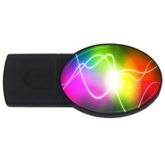 Lines Wavy Ight Color Rainbow Colorful Usb Flash Drive Oval (4 Gb) by Alisyart