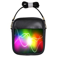 Lines Wavy Ight Color Rainbow Colorful Girls Sling Bags by Alisyart