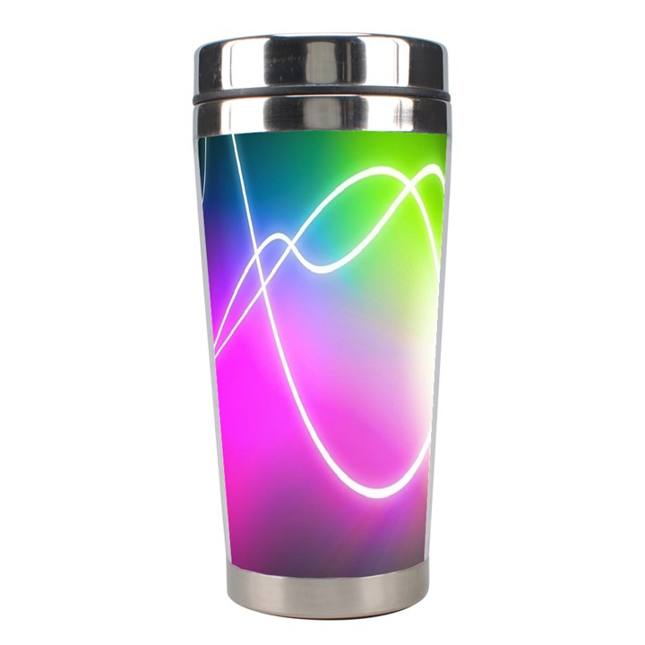 Lines Wavy Ight Color Rainbow Colorful Stainless Steel Travel Tumblers