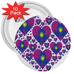 Heart Love Valentine Purple Gold 3  Buttons (10 Pack)  by Alisyart