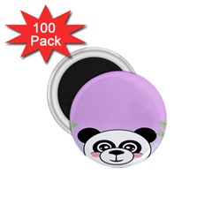 Panda Happy Birthday Pink Face Smile Animals Flower Purple Green 1 75  Magnets (100 Pack)  by Alisyart