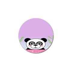 Panda Happy Birthday Pink Face Smile Animals Flower Purple Green Golf Ball Marker (10 Pack) by Alisyart