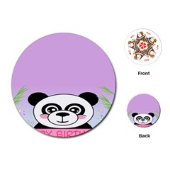 Panda Happy Birthday Pink Face Smile Animals Flower Purple Green Playing Cards (round)  by Alisyart
