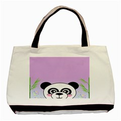Panda Happy Birthday Pink Face Smile Animals Flower Purple Green Basic Tote Bag (two Sides) by Alisyart