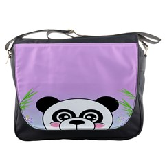 Panda Happy Birthday Pink Face Smile Animals Flower Purple Green Messenger Bags by Alisyart