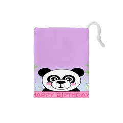 Panda Happy Birthday Pink Face Smile Animals Flower Purple Green Drawstring Pouches (Small)