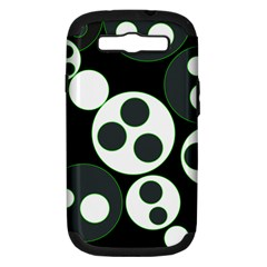 Origami Leaf Sea Dragon Circle Line Green Grey Black Samsung Galaxy S Iii Hardshell Case (pc+silicone) by Alisyart