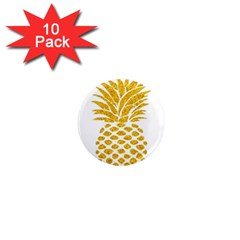 Pineapple Glitter Gold Yellow Fruit 1  Mini Magnet (10 Pack)  by Alisyart