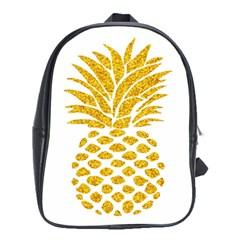 Pineapple Glitter Gold Yellow Fruit School Bags (xl)  by Alisyart