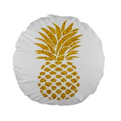 Pineapple Glitter Gold Yellow Fruit Standard 15  Premium Flano Round Cushions by Alisyart