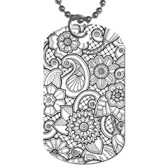These Flowers Need Colour! Dog Tag (one Side) by Simbadda
