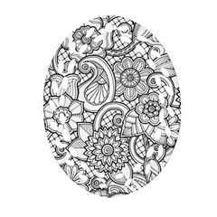 These Flowers Need Colour! Oval Filigree Ornament (two Sides) by Simbadda