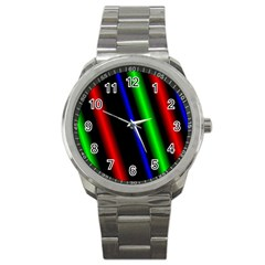 Multi Color Neon Background Sport Metal Watch by Simbadda