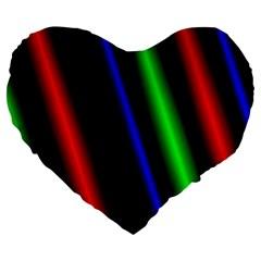 Multi Color Neon Background Large 19  Premium Flano Heart Shape Cushions by Simbadda