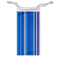 Color Stripes Blue White Pattern Jewelry Bag by Simbadda