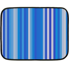 Color Stripes Blue White Pattern Double Sided Fleece Blanket (mini)  by Simbadda