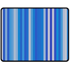 Color Stripes Blue White Pattern Fleece Blanket (medium)  by Simbadda