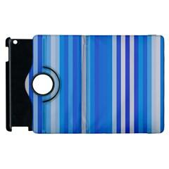 Color Stripes Blue White Pattern Apple Ipad 3/4 Flip 360 Case by Simbadda