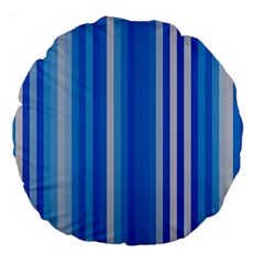 Color Stripes Blue White Pattern Large 18  Premium Flano Round Cushions by Simbadda