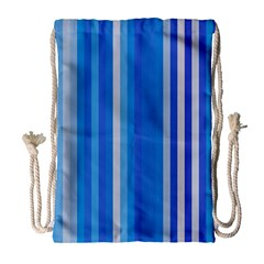 Color Stripes Blue White Pattern Drawstring Bag (large) by Simbadda