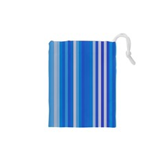 Color Stripes Blue White Pattern Drawstring Pouches (XS)  by Simbadda