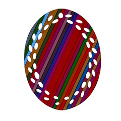 Color Stripes Pattern Oval Filigree Ornament (two Sides) by Simbadda