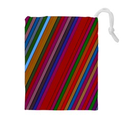 Color Stripes Pattern Drawstring Pouches (extra Large) by Simbadda