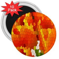 Mosaic Glass Colorful Color 3  Magnets (10 Pack)  by Simbadda