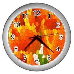 Mosaic Glass Colorful Color Wall Clocks (silver)  by Simbadda