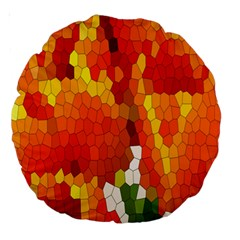 Mosaic Glass Colorful Color Large 18  Premium Round Cushions by Simbadda