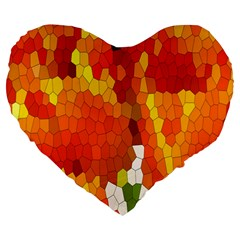 Mosaic Glass Colorful Color Large 19  Premium Flano Heart Shape Cushions by Simbadda