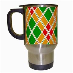 Colorful Color Pattern Diamonds Travel Mugs (white) by Simbadda