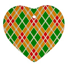 Colorful Color Pattern Diamonds Heart Ornament (two Sides)
