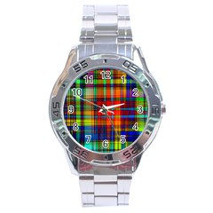 Abstract Color Background Form Stainless Steel Analogue Watch