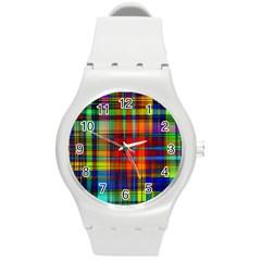 Abstract Color Background Form Round Plastic Sport Watch (m) by Simbadda