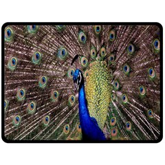 Multi Colored Peacock Fleece Blanket (large)  by Simbadda