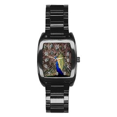 Multi Colored Peacock Stainless Steel Barrel Watch by Simbadda