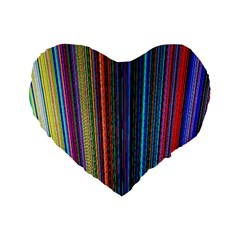 Multi Colored Lines Standard 16  Premium Flano Heart Shape Cushions by Simbadda