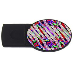 Multi Color Wave Abstract Pattern Usb Flash Drive Oval (4 Gb) by Simbadda