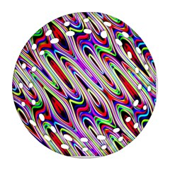 Multi Color Wave Abstract Pattern Round Filigree Ornament (Two Sides)